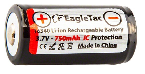 EagleTac 16340 (RCR123A) Li-ion battery 750mAh