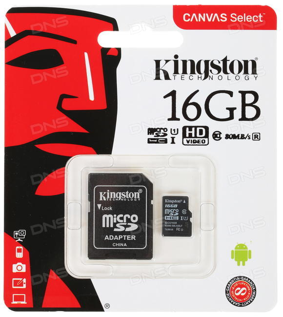 Карта памяти Kingston Canvas Select 16 Гб 80MB/s UHS-I SDCS / 16GB - фото